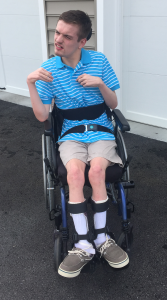 Blake uses dynamic seating on his wheelchair to encourage self propulsion.