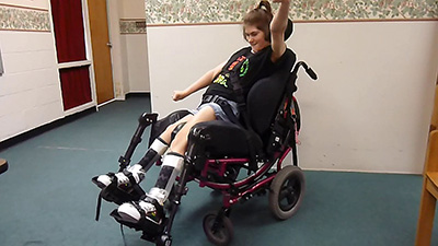 Amber is excited to receive her new Dynamic Footrests!