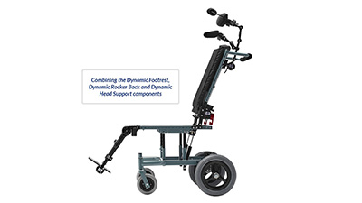 Seating Dynamics Combined Dynamic Head Back Foot Components for Wheelchair Movement