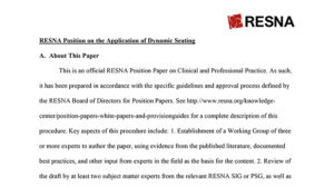RESNA Position on the Application of Dynamic Seating